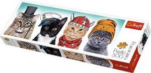 puzzle Trefl 500 dílků panorama - Kočičí posádka - 29504