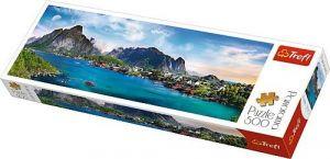 puzzle Trefl 500 dílků panorama - Lofoty Archipelag , Norsko   - 29500