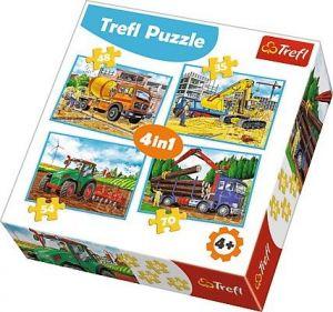 Trefl Puzzle 34298 Stavební stroje   4v1 35 48 54 70 dílků