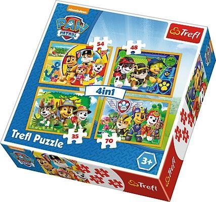 Trefl Puzzle 34307 Paw Patrol - Trapková patrola 4v1 35 48 54 70 dílků