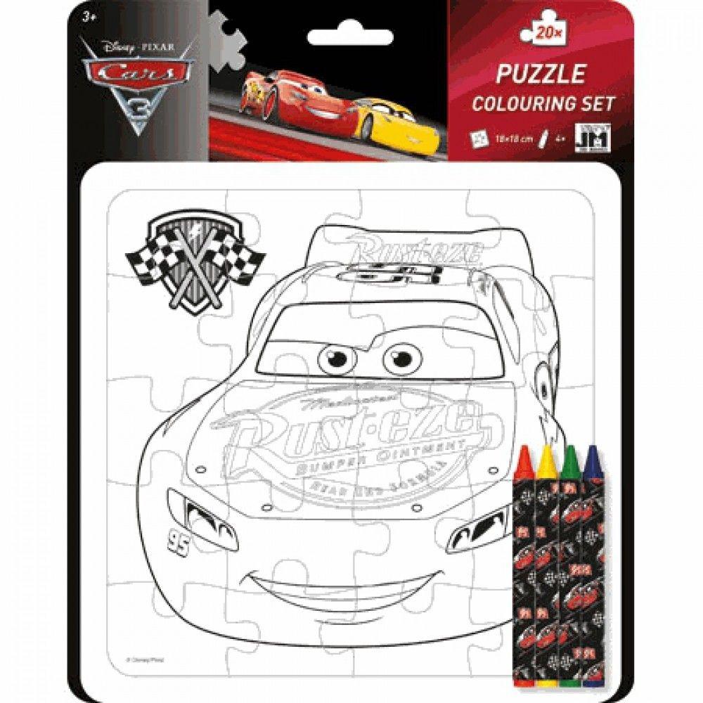CARS - Auta 3 - puzzle 20 d - omalovánky + voskovky Jiri Models