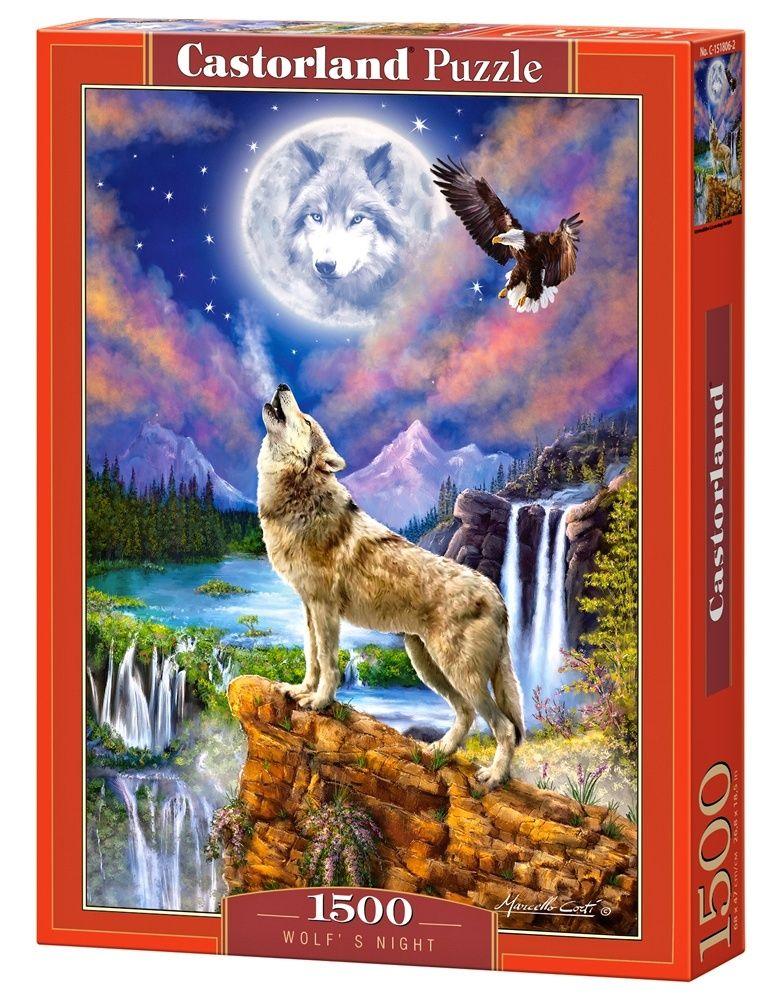 Castorland Puzzle 1500 dílků Vyjící vlk v noci 151806