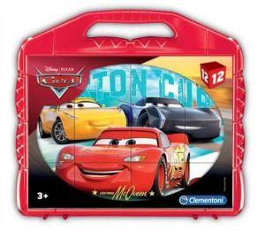 CLEMENTONI Dětské obrázkové kostky  ( kubus ) - CARS - Auta  12 kostek v kufříku 41185