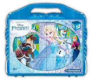 CLEMENTONI Dětské obrázkové kostky  ( kubus ) - Frozen  12 kostek v kufříku  41186