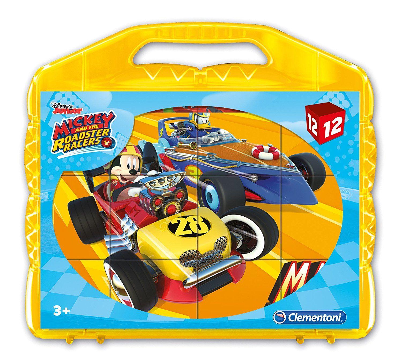 CLEMENTONI Dětské obrázkové kostky ( kubus ) - Mickey - závodníci 12 kostek v kufříku 41183