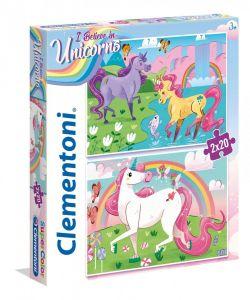 CLEMENTONI Dětské puzzle 2x20 dílků Jednorožec  24754