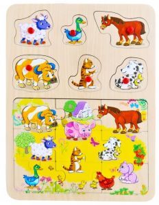 Dřevěné puzzle 9 dílků + vkládačka  s úchyty  6 dílků -  30 x 22 cm - Zvířátka z farmy