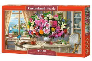 Puzzle  Castorland  4000 dílků - Letní květiny a šálek čaje   400263
