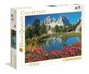 Puzzle Clementoni 1000 dílků -  Passo Pordoi - Dolomity - Jezero s chatkou  39459