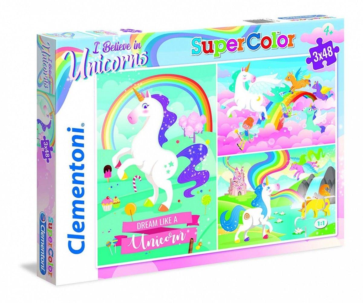Puzzle Clementoni - 3 x 48 dílků - Jednorožec 25231