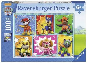 puzzle Ravensburger 100 dílků XXL - Psí tlapková patrola - koláž  107322