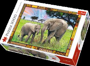 Puzzle TREFL 3000 dílků - Sloni - savana   33067