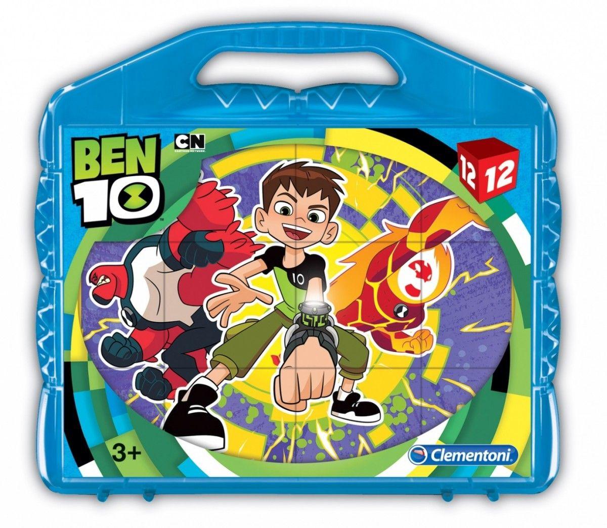 CLEMENTONI Dětské obrázkové kostky ( kubus ) - Ben 10 12 kostek v kufříku 41188