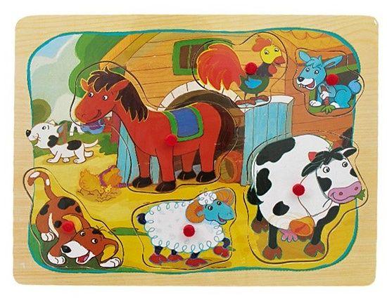 Dřevěná vkládačka s úchyty - farma 22 x 30 cm 6 dílků Playme - Brimarex
