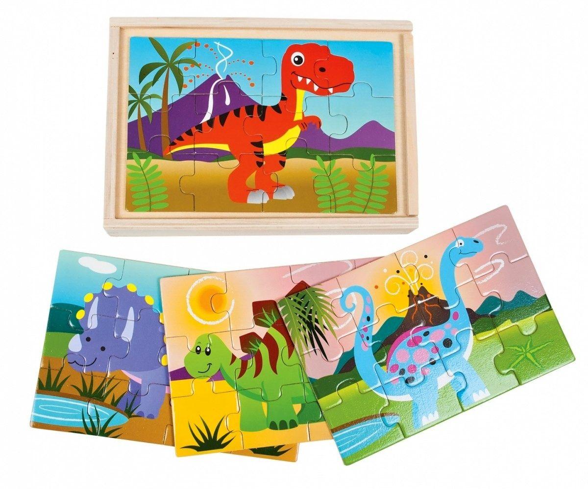 Dromader - Dřevěné puzzle v krabičce 4 x 12 dílků 11,5 x 17,5 cm dinosauři