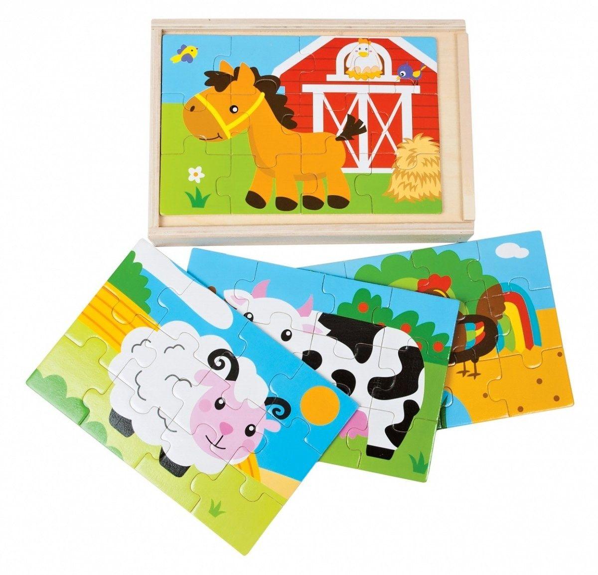 Dromader - Dřevěné puzzle v krabičce 4 x 12 dílků 11,5 x 17,5 cm farma