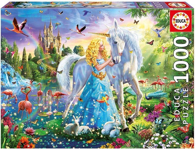 EDUCA Puzzle 1000 dílků - Princezna a jednorožec 17654