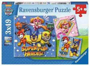 Puzzle Ravensburger  3 x 49 dílků  - Psí tlapková patrola   080366