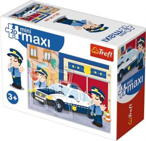 TREFL 20 dílků mini-MAXI - Služební a pracovní auta - policie 21051