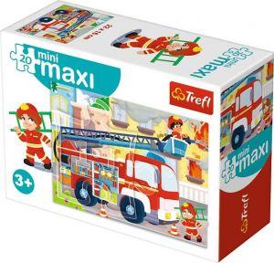 TREFL 20 dílků mini-MAXI - Služební a pracovní auta - hasiči 21049