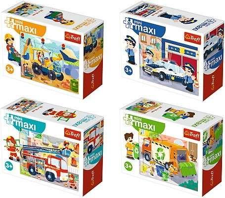 TREFL 20 dílků mini-MAXI - služební a pracovní auta