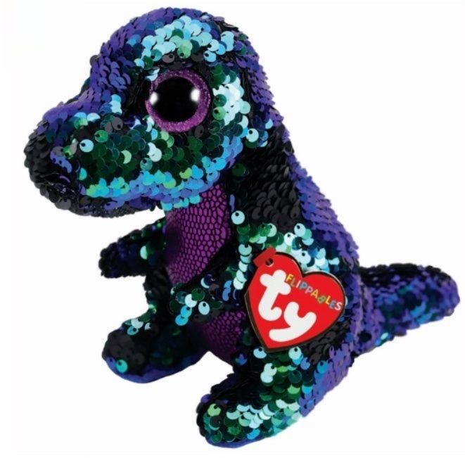 TY Beanie Boos Flippables - Grunch - fialovo-zelený dinosaurus 36260 - 15 cm plyšák TY Inc. ( Meteor )