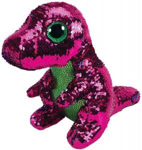TY Beanie Boos Flippables - Stompy - růžovo-zelený dinosaurus   36432 - 24 cm plyšák
