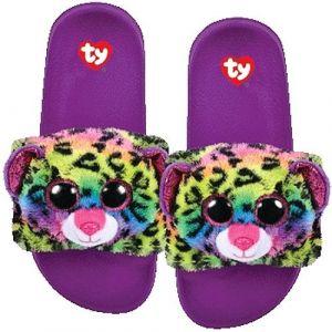 TY plyšové pantofle -  barevný leopard DOTTY - vel. M ( 32-34 ) 95434