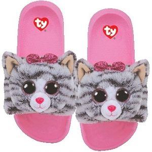 TY plyšové pantofle -  šedá kočička KIKI - vel. S ( 28-31 ) 95400