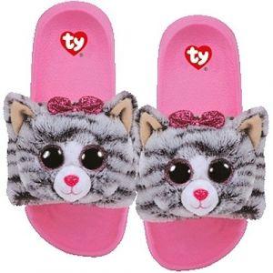 TY plyšové pantofle -  šedá kočička KIKI - vel. M ( 32-34 ) 95430