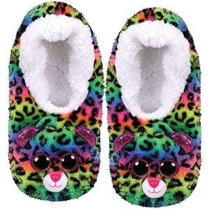 TY plyšové papuče  - barevný leopard DOTTY - vel.M ( 32-34 )  95334