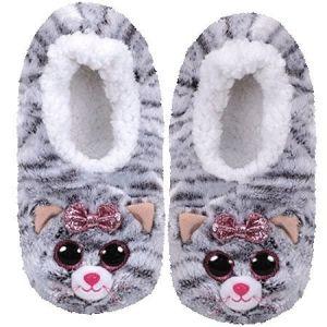 TY plyšové papuče  - šedá kočička KIKI  - vel.L ( 36-38 )  95360