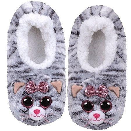TY plyšové papuče - šedá kočička KIKI - vel.L ( 36-38 ) 95360 TY Inc. ( Meteor )