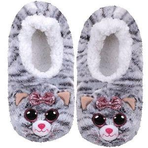 TY plyšové papuče  - šedá kočička KIKI - vel.M ( 32-34 )  95330