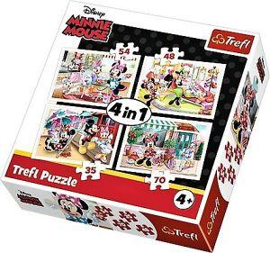 35, 48, 54 a 70  dílků -  4v1  Minnie Mouse s kamarády -  puzzle   Trefl 34315