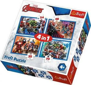 35, 48, 54 a 70  dílků -  4v1  Nebojácní Avengers   -  puzzle   Trefl 34310
