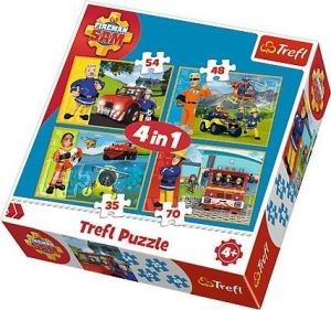 35, 48, 54 a 70  dílků -  4v1  Požárník Sam   -  puzzle   Trefl 34311