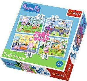 35, 48, 54 a 70  dílků -  4v1  Prasátko Peppa - vzpomínky z dovolené -  puzzle   Trefl 34316