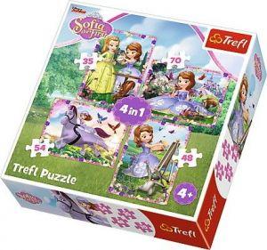 35, 48, 54 a 70  dílků -  4v1  Ve světě princezny Sofie   -  puzzle   Trefl 34314