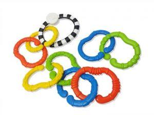 B-Kids - Řetěz na kočárek s kroužky ( C ) / chrastítko  9 ks