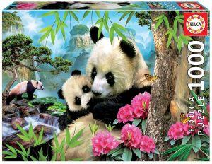 EDUCA Puzzle 1000 dílků - Panda s mládětem 17998