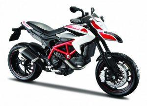 Maisto motorka 1:12 Ducati Hypermotard -  bíločervená