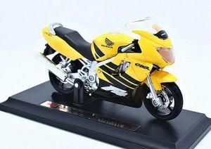 Maisto motorka na stojánku - Honda CBR 600F4 1:18 žlutá Miasto