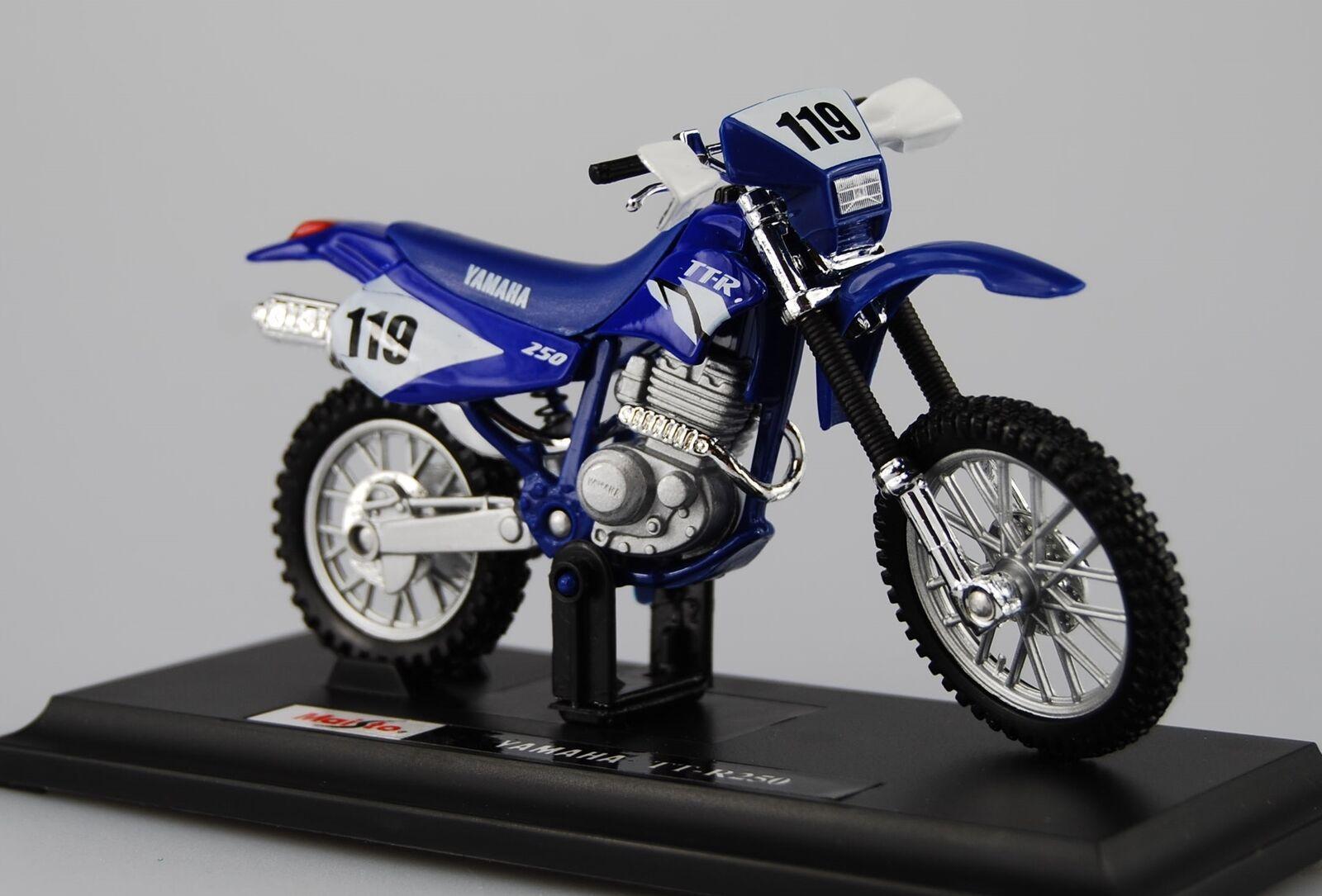Maisto motorka na stojánku - Yamaha TT-R250 1:18 modrá Miasto
