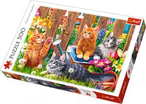 Puzle Trefl 500 dílků - Kočky v zahradě  37326