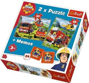 Puzzle Trefl  30 + 48 dílků + hra Memos ( pexeso ) Požárník Sam    90791
