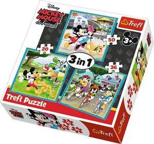 Puzzle   Trefl  3v1 - 20, 36 a 50 dílků  - Mickey Mouse a kamarádi   34846