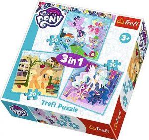 Puzzle Trefl 3v1 - 20 , 36 a 50  dílků - My Little Pony -  šťastné dny   - 34843