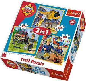 Puzzle Trefl 3v1 - 20 , 36 a 50  dílků - Požárník Sam   - 34844