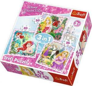 Puzzle   Trefl  3v1 - 20, 36 a 50 dílků  - Princezny  34842